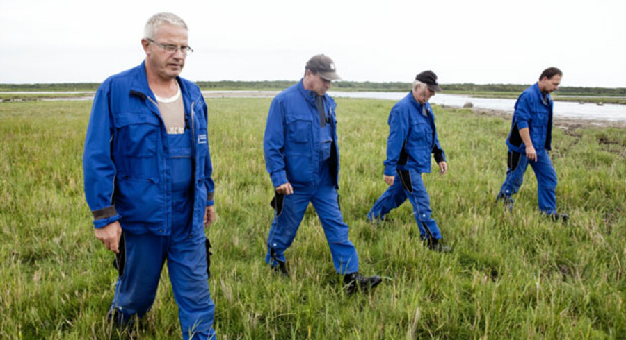 Helge Schikora, Jan Balster, Karl Siedler og Bernd Braun kender Vestamager bedre end de fleste - de har siden efteråret i fjor afsøgt det store naturområde for granater og eksplosiver.