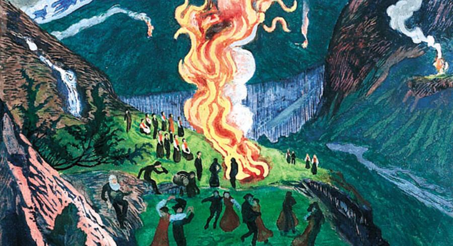 Nikolai Astrup (1880-1928) levede hele sit liv på barndomsegnen i Jølster nord for Bergen og fandt alle sine motiver der. Her ses »St. Hansbål« (udateret).