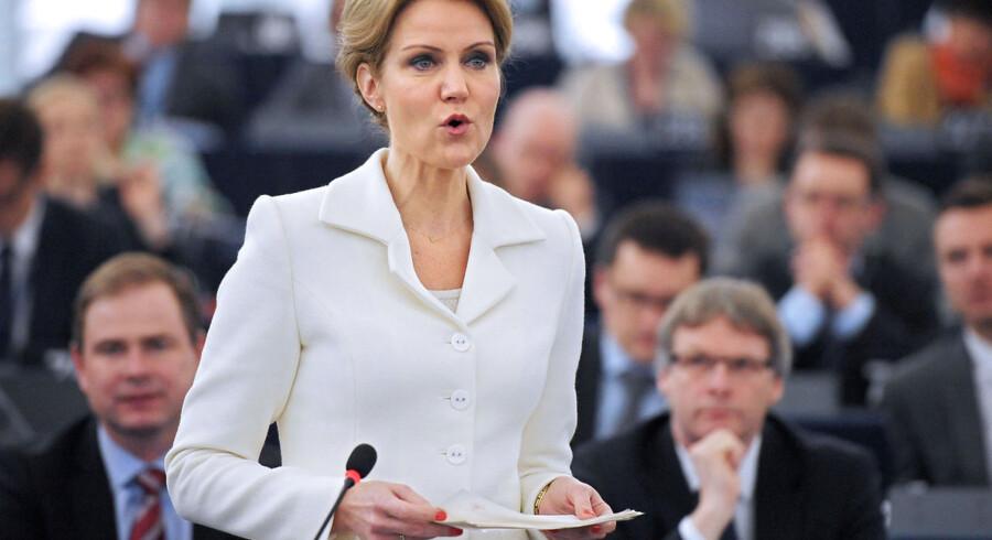 Statsminister Helle Thorning-Schmidt på talerstolen i EU-Parlamentet i Strasbourg.