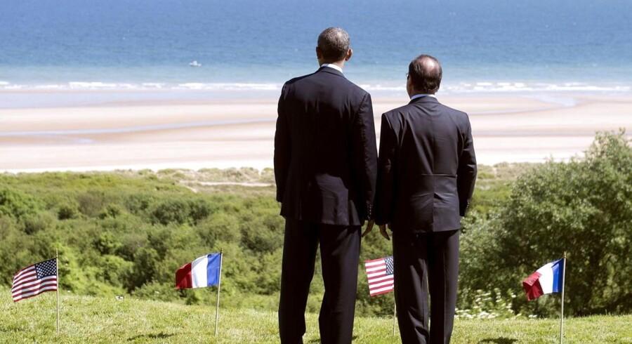 USAs præsident, Barack Obama, og Frankrigs præsident, François Hollande, fik lejlighed til at spejde ud over Den Engelske Kanal i forbindelse med 70-årsdagen for D-dag.