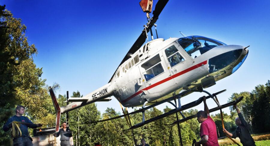Røverne brugte denne helikopter til det opsigtsvækkende røveri af pengeværdicentralen i Stockholm.