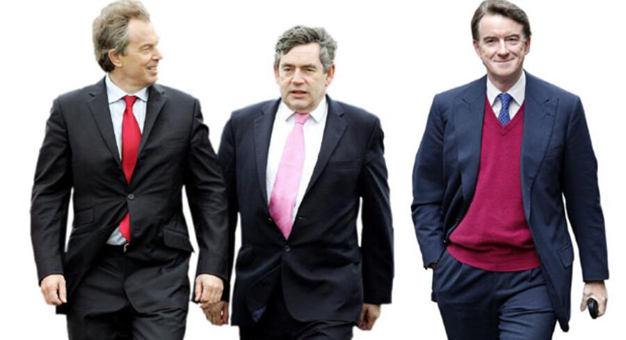 Fra venstre mod højre: Tony Blair, premierminister fra 1997 til 2007. I dag foredragsholder og konsulent. Gordon Brown, finansminister fra 1997 til 2007. Premierminister fra 2007 til 2010. Peter Mandelson, flere tunge poster. Senest erhvervsminister indtil valget 2010.