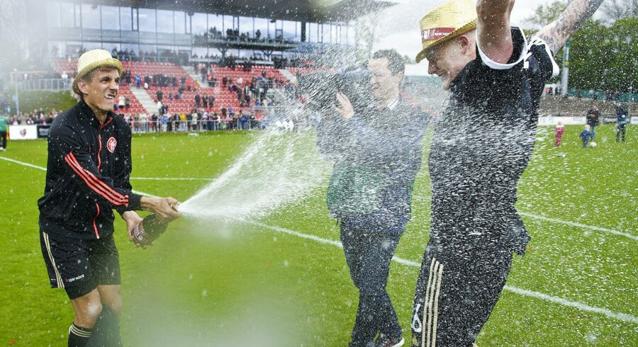 Kasper Risgård fejrer det danske mesterskab og kan se frem mod Champions League-kvalifikation