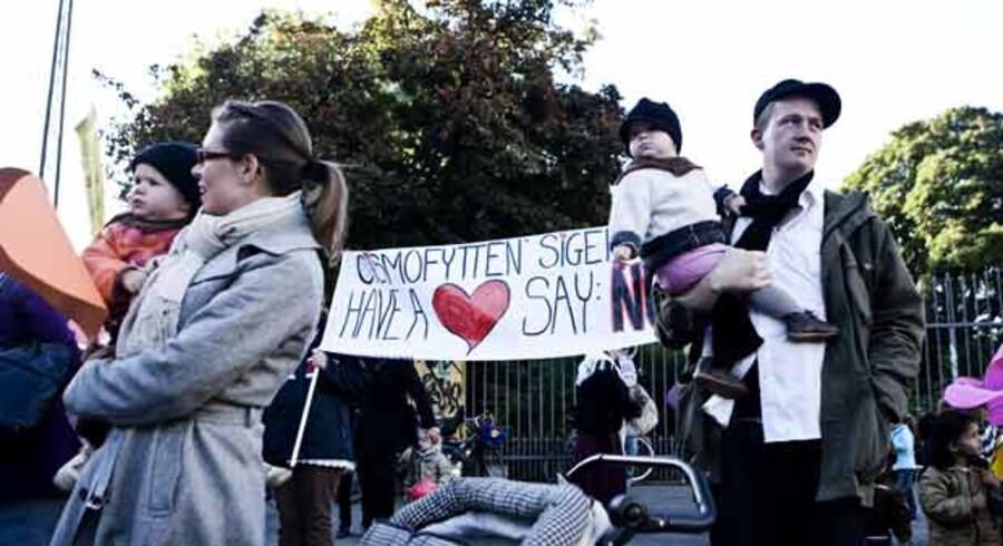 Pædagoger, forældre og børn demonstrerer ved Nørrebros Runddel onsdag den 19. september, i utilfredshed med nedskæringerne på børneområdet. Foto: Rune Evensen / Scanpix