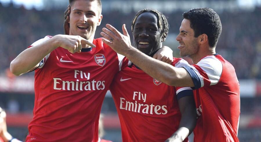 Bacary Sagna i midten ser ud til at forlade Arsenal efter denne sæson.