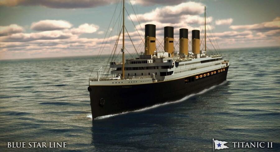 Her et computer-animeret foto fra Blue Star Line af skibet Titanic.