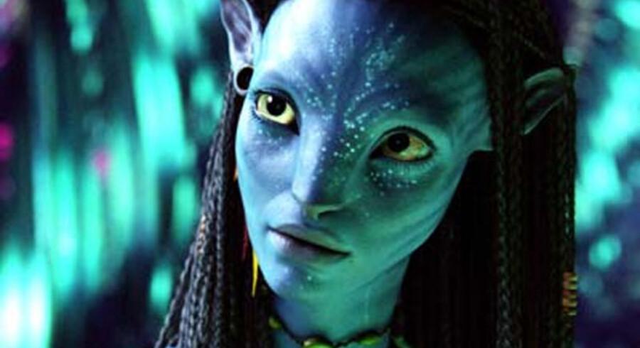 "En computer-""forbedret"" Zoe Saldana i storfilmen ""Avatar""."