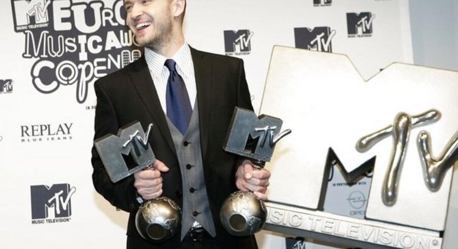 Justin Timberlake til MTV Music Award i København sidste år.