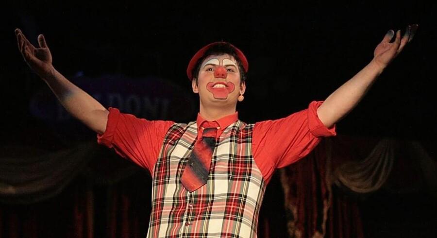 Med sin følsomme, næsten dirch passerske mimik er husklovnen Danilo en sikker trumf for Cirkus Baldoni. PR-foto