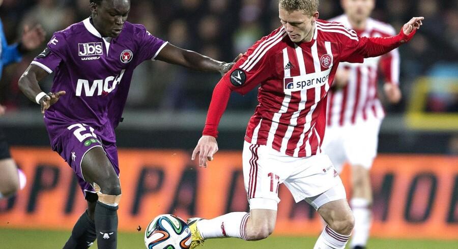 AaB og FC Midtjylland mødes i Herning på lørdag. Kasper Kusk forventes at være klar til kampen efter en skade.