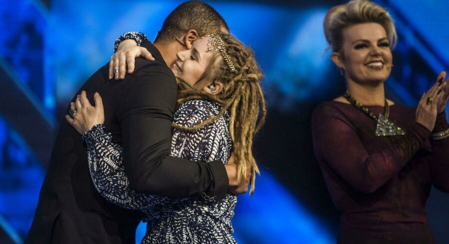 X Factor Finale fredag den 28 marts 2014. Anthony Jasmin og dommeren Thomas Blachmann vinder X Factor 2014. Lucy Mardou bliver nummer 2.