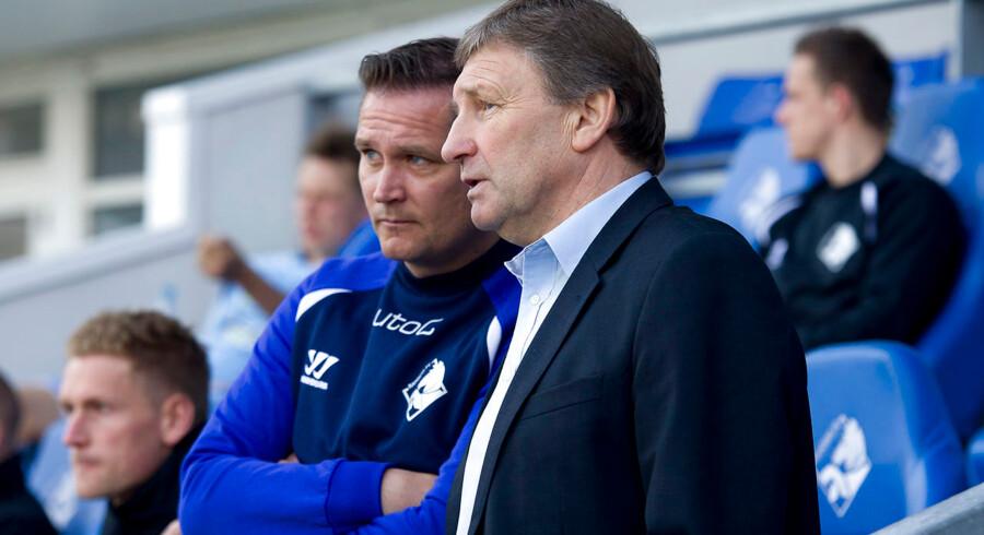 Randers FCs cheftræner Colin Todd var tilbage efter sin sygdomsperiode, her sammen med assistent Thomas Thomasberg, som har varetaget cheftrænerjobbet i englænderens fravær.