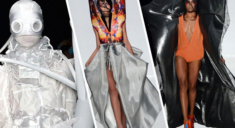 Der er ingen, der har sagt, at modeshows skal afspejle virkeligheden. Oftest fungerer de nærmere som afspejlinger af tendenser og visioner for modehuse og designere.  I denne uge er der modeuge i Moskva og der bliver ikke gået stille med dørene, når organisationen ContrFashion indtager catwalken.  Hele konceptet er bundet op omkring modsætninger i de forskellige kreationer. Målet er for designerne at skabe røre og opmærksomhed. Det må man sige lykkes til fulde.  Klik videre og se de gale kreationer.