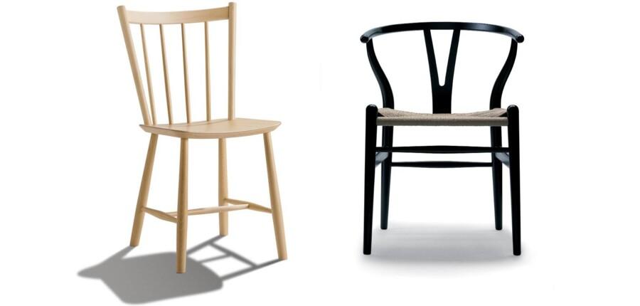 Folkestolen J39 blev tegnet i 1947 og fik det mere mundrette tilnavn Folkestolen. Y-stolen er Wegners mest solgte stol. Den blev designet i 1949 og har været i produktion lige siden.