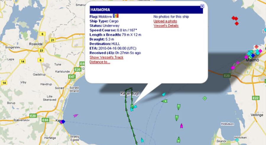 Kortet viser Harmonias rute frem til kl 13:40. Her kan du se skibets position live.