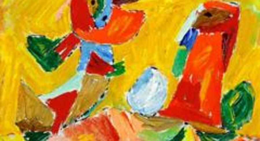 Asger Jorn: Magisk dans (1944). Sign. Asger J. Olie på plade. 28 x 41,5 cm. Vurdering: DKK 250.000. Solgt for 240.000 kroner hos auktionshuset Bruun Rasmussen.
