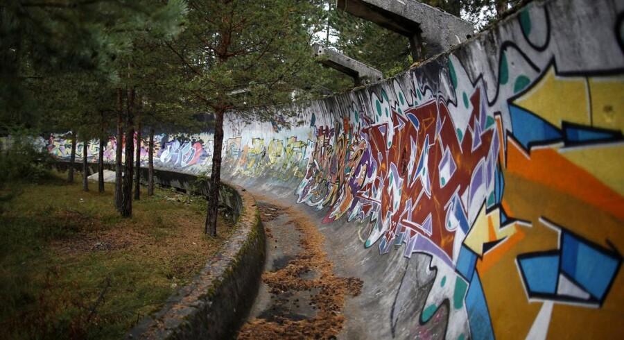 Bobslæde-banen på Mount Trebevic, nær Sarajevo.