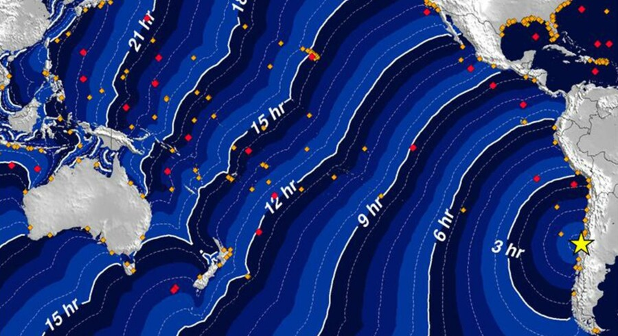 En grafik fra Tsunamivarslingscenteret for Stillehavet viser tsunamiens forventede udbredelse fra jordskælvet.