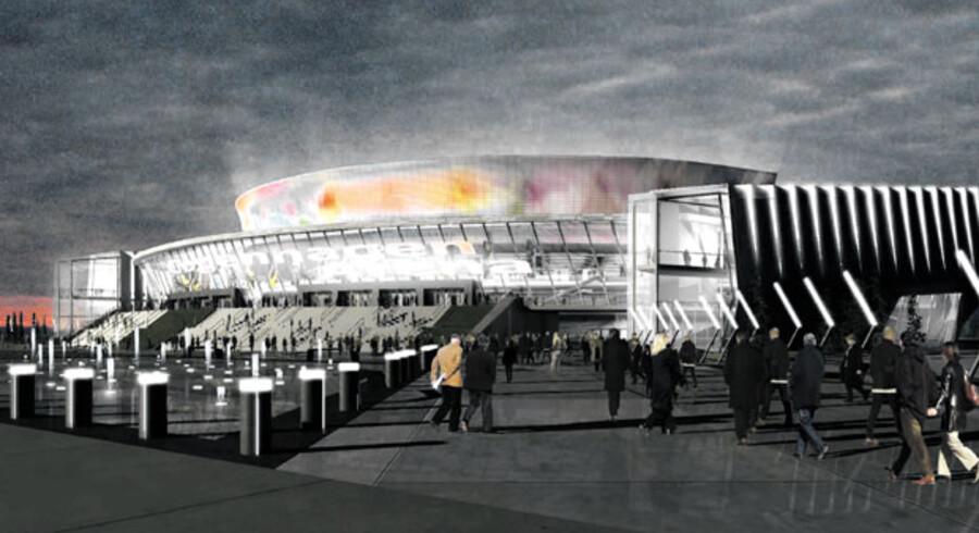 Sådan skulle den nye multiarena i Ørestad Syd til at se ud, når den efter planen skulle stå færdig i 2013.