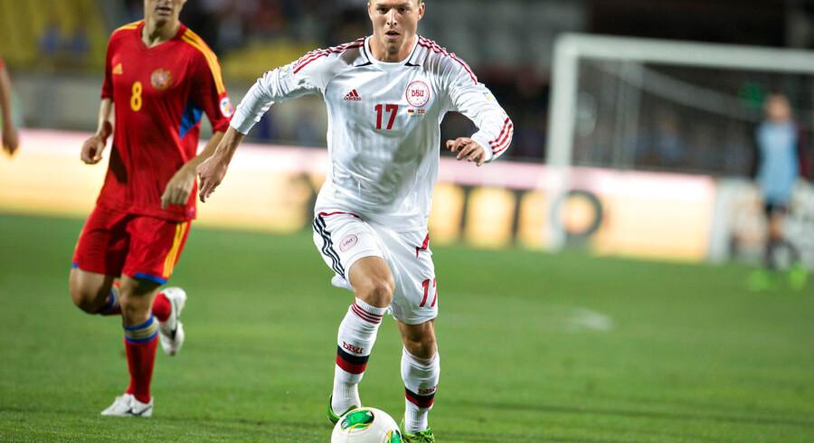 Casper Sloth, i hvidt, må nøjes med en plads som reservespiller, når AGF i dag møder FC København i Superligaen.