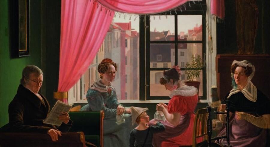 Gruppebillede fra 1828 af Emilius Bærentzen. Måske hans egen familie?