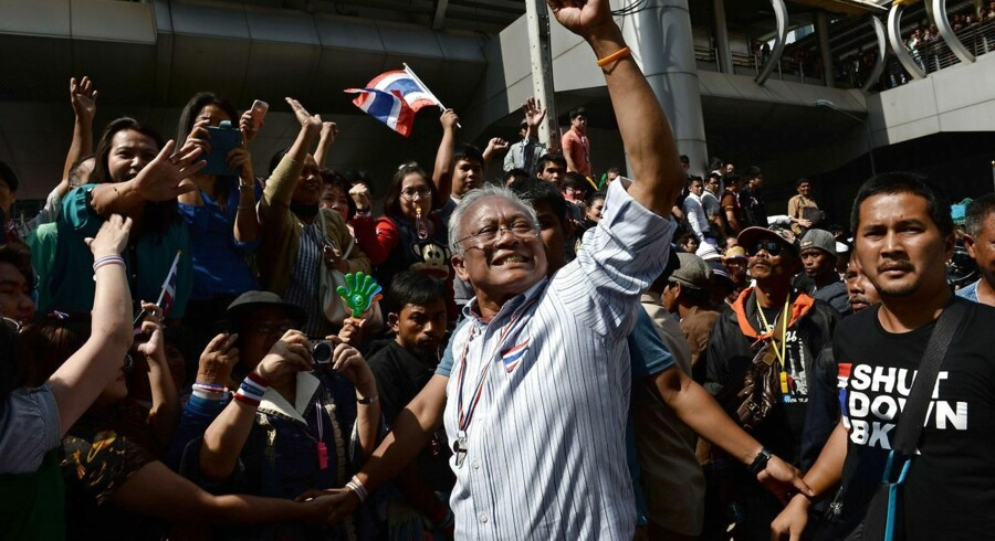 Demonstration i Bangkok 21. januar. I front ses protestleder Suthep Thaugsuban