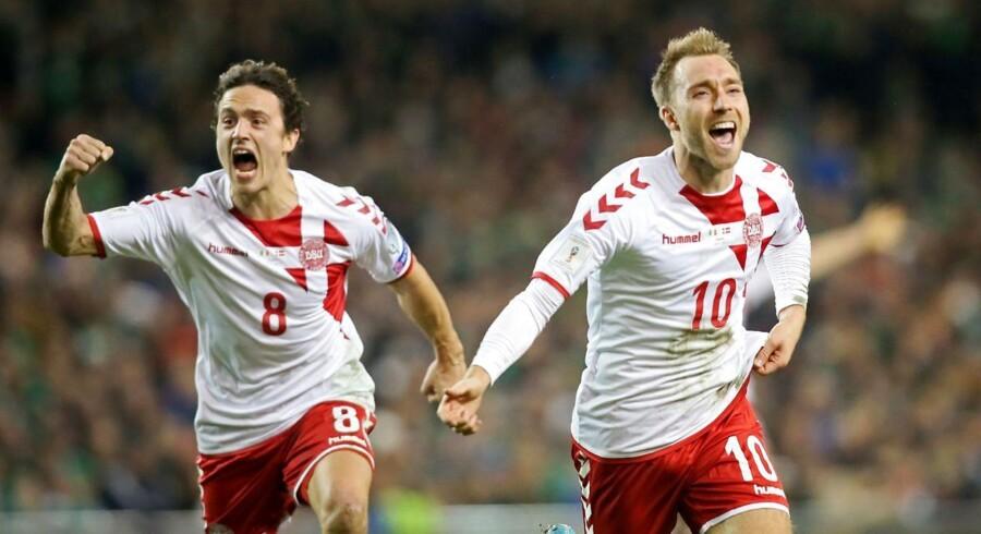 Thomas Delaney og Christian Eriksen fejrer sejren.
