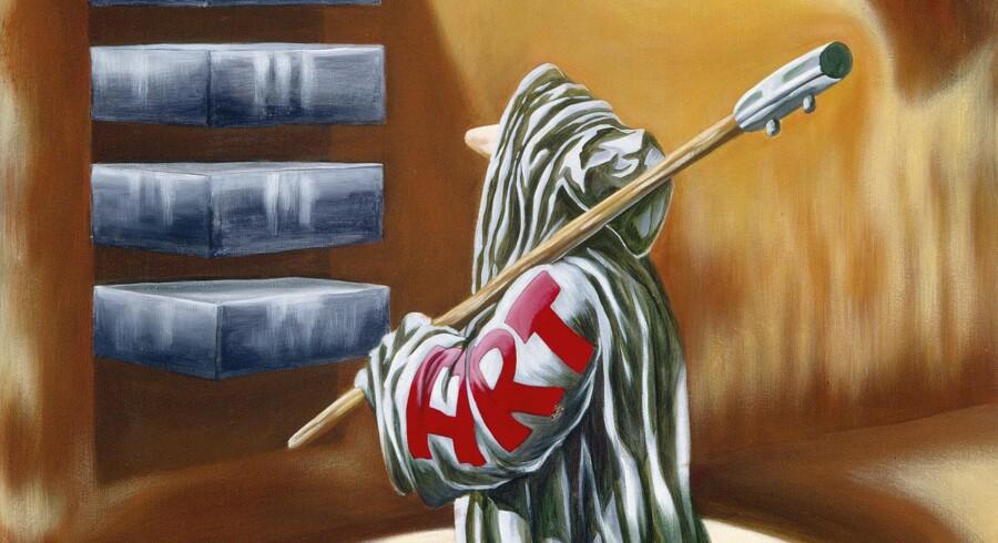 Art er en gennemgående figur i Martin Bigums univers. Her er Art gået på kunstmuseum for at se på en af Donald Judds berømte vægobjekter. De findes i flere udgaver. En af dem tilhører Statens Museum for Kunst. Martin Bigums udstilling i Arken åbner 3. september.