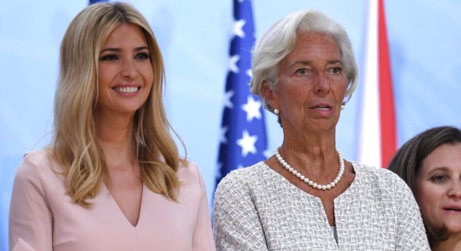 Ivanka Trump og chefen for the International Monetary Fund (IMF) Christine Lagarde ved en paneldiskussion om finansiering af kvindelige iværksættere i Hamborg