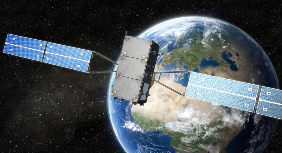 Et net af 30 satellitter skal inden 2020 udgøre den europæiske udgave af det amerikanske GPS-system. Galileo, som den europæiske version hedder, er med tirsdagens opsendelse oppe på 14 satellitter i kredsløb. Arkivfoto: EPA/OHB/Scanpix