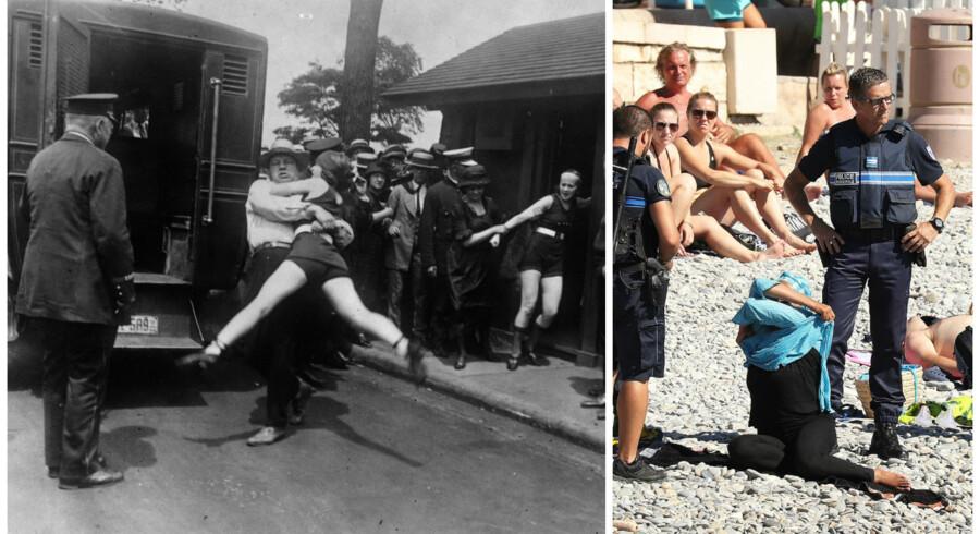På billedet til venstre er vi tilbage i 1922, hvor en kvinde i Chicago er i karambolage med lovens lange arm for ikke at leve op til reglementet om tildækkede lår - en forseelse, som frem til 1960'erne kunne føre til anholdelse. I dag er det en helt anden historie, som det fremgår af billedet til højre, hvor det franske burkaforbud håndhæves på stranden Promenade des Anglais i Nice, hvor en kvinde bliver beordet til at tage sin burkini af. Hun kan se frem til en bøde på 38 euro.