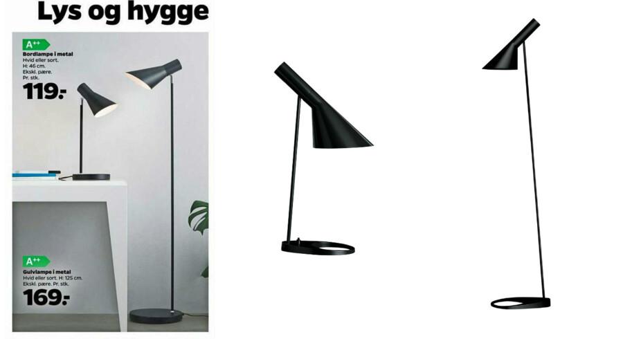 De to lamper i Netto-kataloget har ifølge lektor Stina Teilmann-Lock, SDU, har klare associationer til de to Arne Jacobsen-klassikere fra lampevirksomheden Louis Poulsen