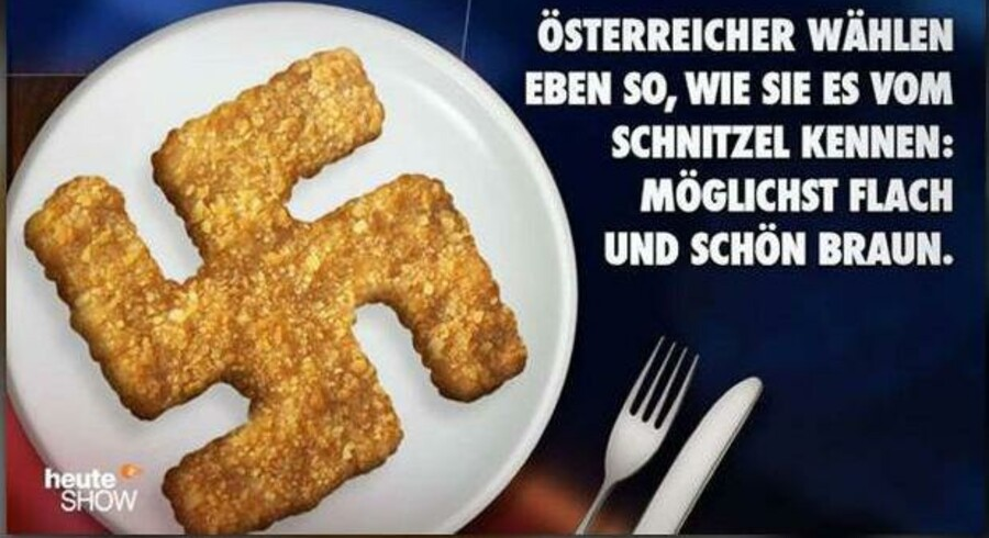 »Østrigere stemmer på den måde, de kender fra deres schnitzel: så fladt som muligt og dejligt brunt,« lød den satiriske påstand fra tyske »Heute Show«. Illustration: Screendump fra »Heute Show«