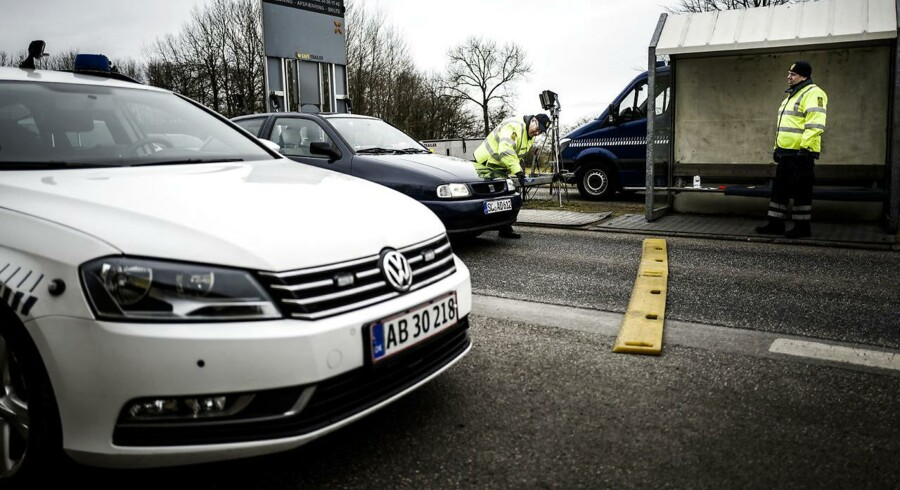 Grænsekontrol ved den dansk/tyske grænse ved Padborg d. 15. marts 2016.