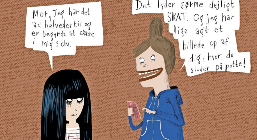 En ny amerikansk undersøgelse viser, hvilke regler børn ville ønske, deres forældre efterlevede på sociale medier. Tegning: Rasmus Bregnhøi