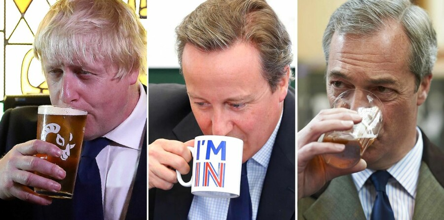 Brexit? Not our problem! Fra venstre: Boris Johnson, David Cameron og NIgel Farage.