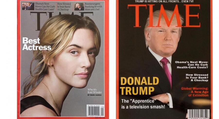 Til venstre er det ægte eksemplar af magasinet Time, som udkom i begyndelsen af marts 2009. Det har skuespilleren Kate Winslet på forsiden. Til højre er det falske eksemplar af Time fra samme periode i marts 2009. Washington Post har fundet det falske cover på fire af Trumps golfklubber, og det viser chefen på forsiden og med en falsk tekst og falsk rubrik. Foto: Twitter-feed fra Washington Post