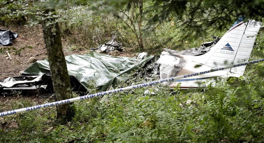 Billede fra nedstyrtningsstedet i Slovenien.