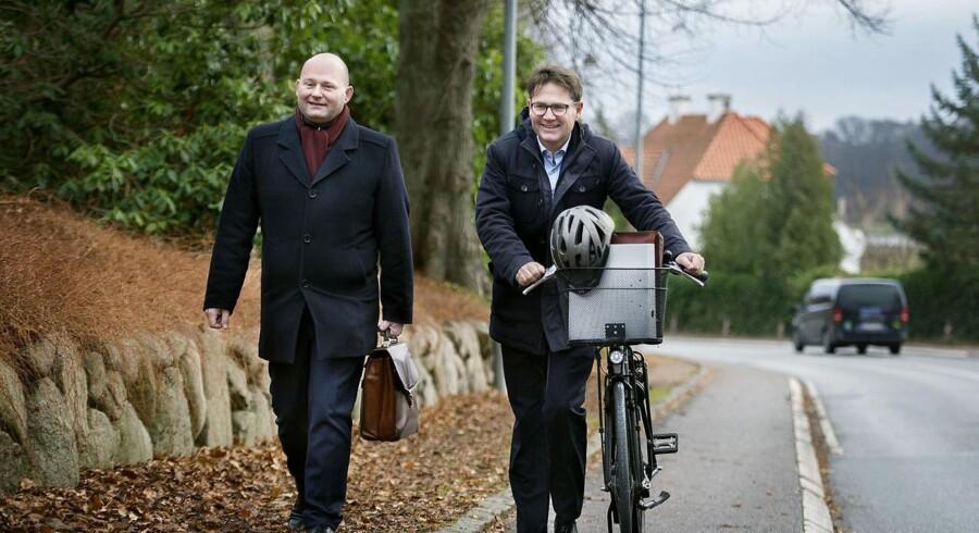 Søren Pape og Brian Mikkelsen (K) ankommer til regeringsgrundlags forhandlinger på Marienborg fredag d.25.11.2016.
