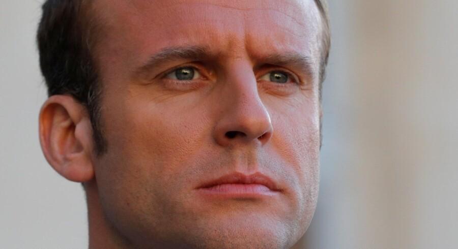 Frankrigs præsident, Emmanuel Macron, mødes den 29. maj med Ruslands præsident. Vladimir Putin, på Versailles-slottet nær Paris. Reuters/Philippe Wojazer