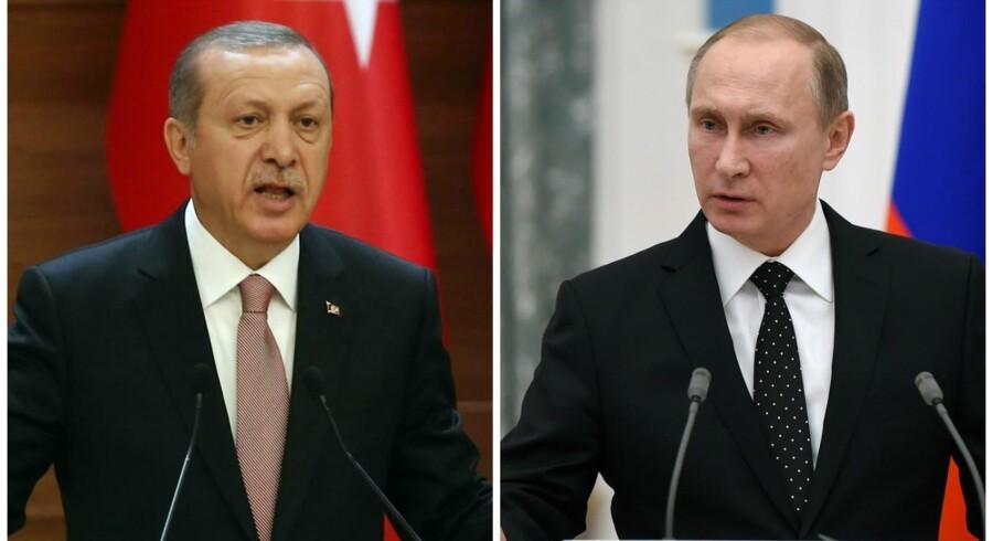 Til venstre Tyrkiets præsident Erdogan. Til højre Ruslands præsident Putin.