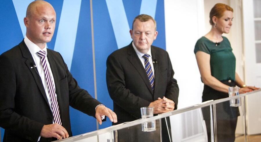 Lars Løkke Rasmussen, Peter Christensen og Inger Støjberg fremlagde Venstres finanslovsforslag på et pressemøde mandag d. 8 september 2014 på Christiansborg.
