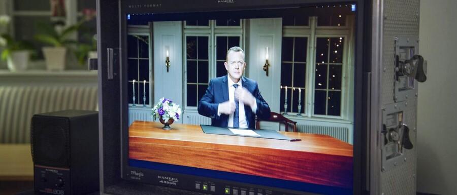 Statsminister Lars Løkke Rasmussen holdte sin nytårstale på Marienborg.