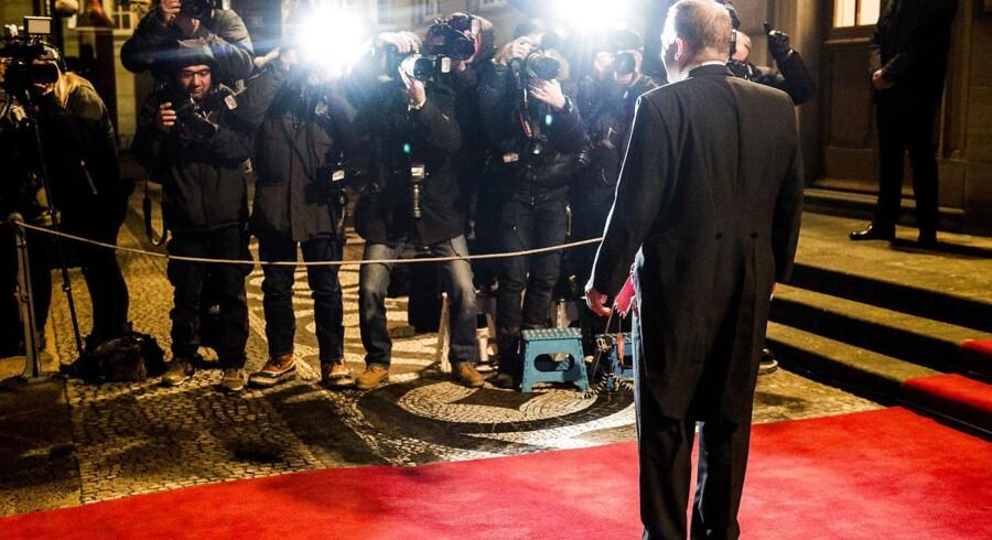 Statsminister Lars Løkke Rasmussen ankommer til nytårskur på Amalienborg.
