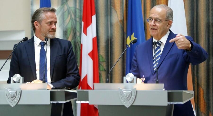 Udenrigsminister Anders Samuelsen (LA) holdet er fælles pressemøde med Kyperns udenrigsminister Ioannis Kasoulides.