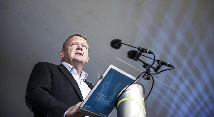 Statsminister og formand for Venstre, Lars Løkke Rasmussen, holde tale fredag d.16.06.2017 på hovedscenen på Folkemødet i Allinge på Bornholm. (Foto: Asger Ladefoged/Scanpix 2017)