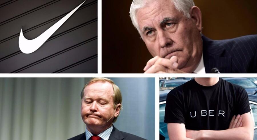 Nike, Uber; Rex Tillerson (th) og svenske Leif Östling dukker op i de nyeste skattely afsløringer.