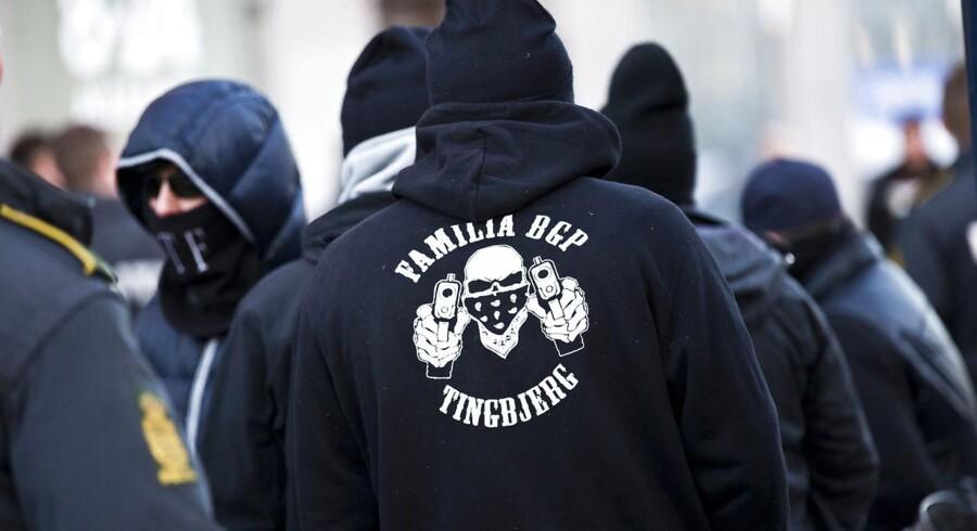 Antallet af fængslede bandemedlemmer og rockere er steget med cirka 40 procent fra april 2017 til april 2018, viser tal fra Rigspolitiet. På billedet ses bandegrupperingen LTF / Loyal To Familia i København den 26. marts 2013. (Foto: Scanpix/Scanpix 2017)