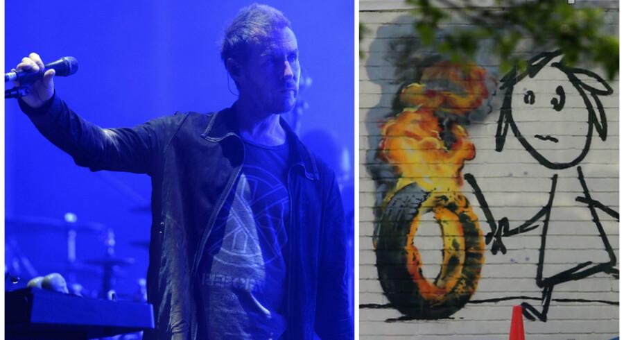 Robert del Naja fra Massive Attack afviser, at han skulle være ide- og bagmanden bag gadekunstneren Banksy. Til højre ses et udsnit af et af den hemmelighedsfulde kunstners seneste billeder, som denne sommer blev malet på væggen af, hvad der formodes at være hans gamle skole, Bridge Farm Primary School i Bristol.