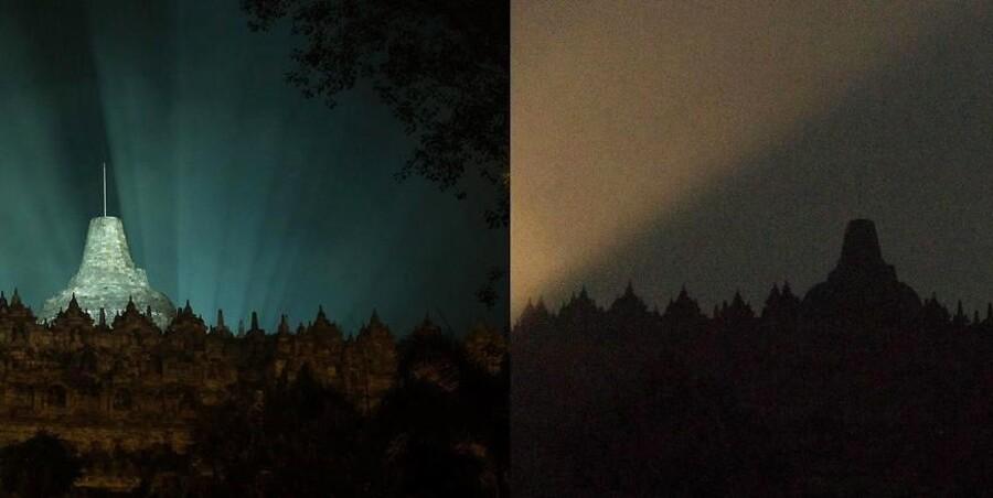 Borobudur buddhist-tempel i Indonesien med og uden lys under Earth Hour 2016.